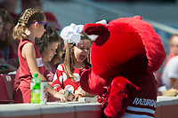 NWA Democrat-Gazette/CHARLIE KAIJO Young Razorbacks fans interact with a mascot during the first half of the game between Arkansas Razorbacks and New Mexico State Aggies on Saturday, September 30, 2017 at Razorback Stadium in Fayetteville.