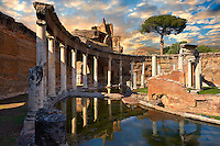 Hadrian's Villa ( Villa Adriana ) 2nd century AD - The Maritime Theatre (  Teatro Marittimo ), so called because of its shape and marine architectural decorations such as Tritons, is at the centre of Hadrian's Villa complex.  At its centre of the Teatro Marittimo is a circular islet surrounded  by a water filled moat which in turn is surrounded by a circular barrel vaulted portico with 40 Ionic columns. The circular building on the islet consisted of rooms that surrounded a central peristyle which was probably a retreat for Hadrian to escape to. Villa Adriana, Tivoli, Italy. A UNESCO World Heritage Site.