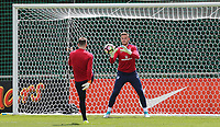 Goalkeeper Jack Butland (Stoke City) of England warms up during an open England football team training session at Stade Omnisport, Croissy sur Seine, France  on 12 June 2017 ahead of England's friendly International game against France on 13 June 2017. Photo by David Horn/PRiME Media Images.