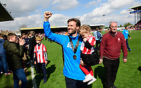 Lincoln City's assistant manager Nicky Cowley celebrates at the end of the game<br /> <br /> Photographer Chris Vaughan/CameraSport<br /> <br /> Vanarama National League - Lincoln City v Macclesfield Town - Saturday 22nd April 2017 - Sincil Bank - Lincoln<br /> <br /> World Copyright &copy; 2017 CameraSport. All rights reserved. 43 Linden Ave. Countesthorpe. Leicester. England. LE8 5PG - Tel: +44 (0) 116 277 4147 - admin@camerasport.com - www.camerasport.com