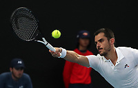 16th January 2019, Melbourne Park, Melbourne, Australia; Australian Open Tennis, day 3; Thomas Fabbiano  of Italy returns the ball during the match against Reylli Opelka of USA