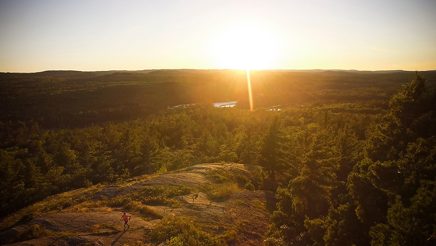 4k Frame Grab approximately 3600x2000 pixels. Aerial image of trail running in the Harlow Lake area near Marquette, Michigan.