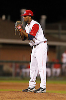 Auburn Doubledays pitcher Manuel Rivera #17 during game two of the semi-final round of the NY-Penn League Playoff series against the Vermont Lake Monstes at Falcon Park on September 8, 2011 in Auburn, New York.  Auburn defeated Vermont 3-2.  (Mike Janes/Four Seam Images)