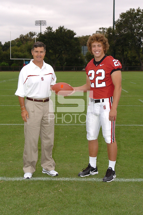 7 August 2006: Stanford Cardinal head coach Walt Harris and Bo McNally during Stanford Football's Team Photo Day at Stanford Football's Practice Field in Stanford, CA.