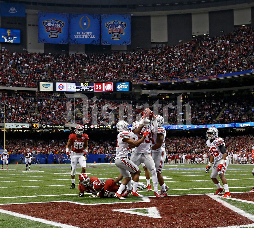 Ohio State Buckeyes safety Tyvis Powell (23) comes up with the interception in the end zone to beat Alabama Crimson Tide in the Allstate Sugar Bowl college football Playoff Semifinal game at the Mercedes-Benz Superdome in New Orleans, Louisiana on January 1, 2015.  (Dispatch photo by Kyle Robertson)