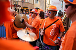 The Dutch fans in party mode as always during the Women Elite Road Race of the 2018 UCI Road World Championships running 156.2km from Kufstein to Innsbruck, Innsbruck-Tirol, Austria 2018. 29th September 2018.<br /> Picture: Innsbruck-Tirol 2018/Sebastian Schels | Cyclefile<br /> <br /> <br /> All photos usage must carry mandatory copyright credit (&copy; Cyclefile | Innsbruck-Tirol 2018/Sebastian Schels)