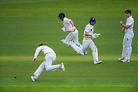 Otago's Hamish Rutherford and Camden Hawkins sneak in a single under pressure from michael Bracewell (left) on day one of the Plunket Shield cricket match between the Wellington Firebirds and Otago Volts at Basin Reserve in Wellington, New Zealand on Monday, 21 October 2019. Photo: Dave Lintott / lintottphoto.co.nz
