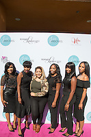 Lachelle Johnson, Riqua Hailes, Power 106, Yesi Ortiz, Joy Landrum, Shamica Simmons, and Tanika Durham attend Just Weaves By Just Extensions Opens Up Its First Premium Weaving Installation Store In Inglewood, California