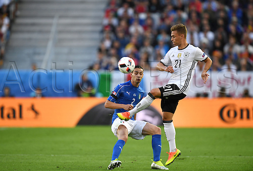 02.07.2016. Bordeaux, France.  Germany's Joshua Kimmich and Italy's Mattia De Sciglio during the UEFA EURO 2016 quarter final  match between Germany and Italy at the Stade de Bordeaux in Bordeaux, France, 02 July 2016.