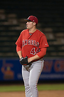 AZL Angels relief pitcher Connor Higgins (44) prepares to deliver a pitch during an Arizona League game against the AZL Padres 2 at Tempe Diablo Stadium on July 18, 2018 in Tempe, Arizona. The AZL Padres 2 defeated the AZL Angels 8-1. (Zachary Lucy/Four Seam Images)