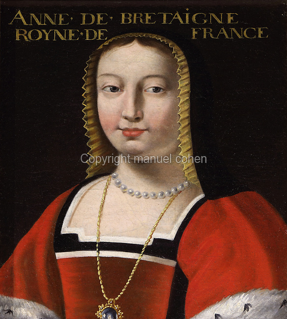 Portrait of Anne of Brittany, 1477-1514, Queen of France as wife of King Charles VIII, in the Galerie des Illustres or Gallery of Portraits, early 17th century, in the Chateau de Beauregard, a Renaissance chateau in the Loire Valley, built c. 1545 under Jean du Thiers and further developed after 1617 by Paul Ardier, Comptroller of Wars and Treasurer, in Cellettes, Loir-et-Cher, Centre, France. The Gallery of Portraits is a 26m long room with lapis lazuli ceiling, Delftware tiled floor and decorated with 327 portraits of important European figures living 1328-1643, in the times of Henri III, Henri IV and Louis XIII. The chateau is listed as a historic monument. Picture by Manuel Cohen