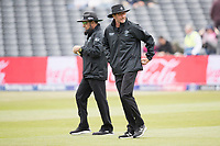 Aleem Dar, Umpire and Rod Tucker, Umpire lead the teams out during South Africa vs West Indies, ICC World Cup Warm-Up Match Cricket at the Bristol County Ground on 26th May 2019