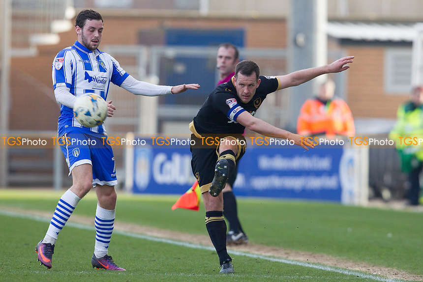 Michael Doyle of Portsmouth crosses into the Colchester penalty area during Colchester United vs Portsmouth, Sky Bet EFL League 2 Football at the Weston Homes Community Stadium on 11th March 2017