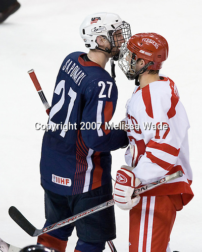 Brothers Vinny Saponari (US Under-18 27) and Victor Saponari (BU 17) - The Boston University Terriers defeated the US National Team Development Program Under-18s 3-2 on Saturday, December 8, 2007, at Agganis Arena in Boston, Massachusetts.