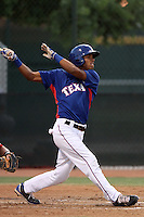 Nick Williams #1 of the AZL Rangers bats against the AZL Reds at Surprise Recreation Campus on July 24, 2012 in Surprise, Arizona. Rangers defeated Reds 3-1. (Larry Goren/Four Seam Images)