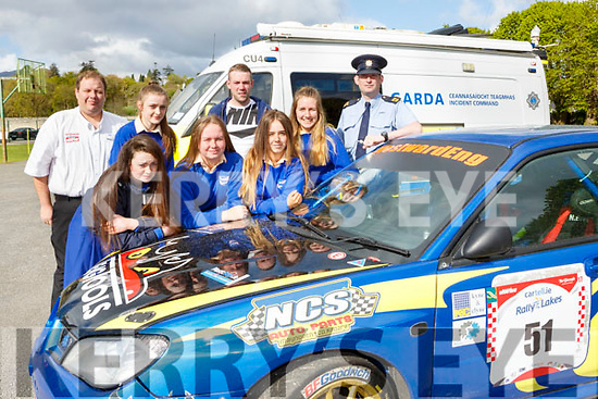 St Brigids students at the Road Safety Promoation held by The Road Safety Authority and Killarney Motor and District club held in St Brendans College on Tuesday morning with  Garda Joe O'Sullivan, Alan Buckley Club Safety Officer and Anthony O'Connor Clerk of the Course were l-r: Shona Collins, Ciara Browne, Emily Egan, Andrea O'Donoghue and Miriam Fleming