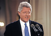 United States President Bill Clinton conducts a press conference in the East Room of the White House in Washington, DC on April 23, 1993.<br /> Credit: Ron Sachs / CNP