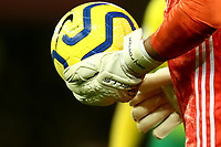 8th November 2019; Carrow Road, Norwich, Norfolk, England, English Premier League Football, Norwich versus Watford; A detailed view of the goal keeping glove of Ben Foster of Watford - Strictly Editorial Use Only. No use with unauthorized audio, video, data, fixture lists, club/league logos or 'live' services. Online in-match use limited to 120 images, no video emulation. No use in betting, games or single club/league/player publications