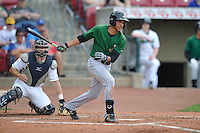 Clinton LumberKings Luis Liberato (2) swings during the game against the Cedar Rapids Kernels at Veterans Memorial Stadium on April 16, 2016 in Cedar Rapids, Iowa.  Cedar Rapids won 7-0.  (Dennis Hubbard/Four Seam Images)