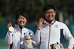Furukawa Takaharu (JPN),Sugimoto Tomomi(JPN)<br /> AUGUST 27, 2018 ? Archery : <br /> Asian games 2018 Jakarta Palembang<br /> Recurve Mixed Team Gold Medal Match, <br /> at The GBK in Jakarta, Indonesia. <br /> (Photo by AFLO)