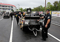 May 3, 2013; Commerce, GA, USA: NHRA crew members for funny car driver Tony Pedregon during qualifying for the Southern Nationals at Atlanta Dragway. Mandatory Credit: Mark J. Rebilas-