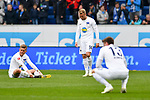 14.04.2019, PreZero Dual Arena, Sinsheim, GER, 1. FBL, TSG 1899 Hoffenheim vs. Hertha BSC Berlin, <br /> <br /> DFL REGULATIONS PROHIBIT ANY USE OF PHOTOGRAPHS AS IMAGE SEQUENCES AND/OR QUASI-VIDEO.<br /> <br /> im Bild: Frust bei Maximilian Mittelstädt/ Mittelstaedt (#17, Hertha BSC Berlin), Pascal Köpke / Koepke (#14, Hertha BSC Berlin), Lukas Klünter / Kluenter / Klunter (Hertha BSC Berlin #13)<br /> <br /> Foto © nordphoto / Fabisch