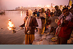 ALLAHABAD, UTTAR PRADESH, INDIA, 1/13/2007 : Pilgrims and processions animate the Ardh Kumbh Mela  in Allahabad . The Ardh Kumbh comes every 6 years according to aplanetary calendar. Pilgrims board boats to reach Sangam, the very place in the middle of the river where the Gange, the Yamuna and the Swaraswati rivers converge. (Photo Jean-Marc Giboux)