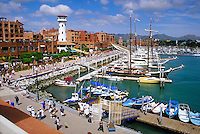 Marina and shopping areas at Cabo San Lucas, Baja, Mexico.