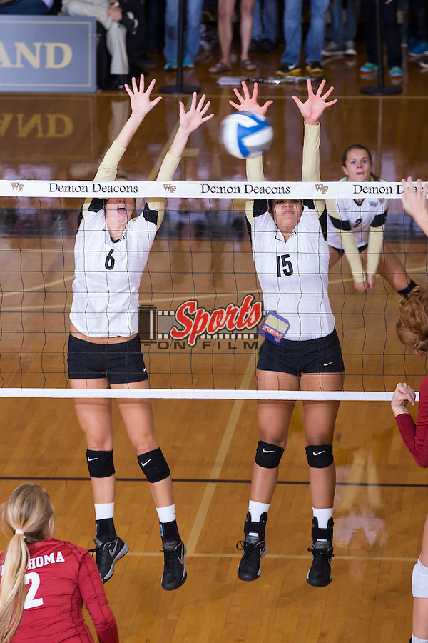 in Reynolds Gymnasium on September 18, 2014 in Winston-Salem, North Carolina.  The Sooners defeated the Demon Deacons 3-0.   (Brian Westerholt/Sports On Film)