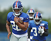 Saquon Barkley #26, New York Giants rookie running back, does agility drills during training camp at Quest Diagnostics Training Center in East Rutherford, NJ on Friday, Aug. 3, 2018.