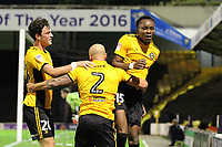 Shawn McClousky of Newport County celebrates getting the second goal with team mates during Southend United vs Newport County, Caraboa Cup Football at Roots Hall on 8th August 2017