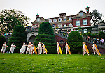 Old Westbury, New York, U.S. 22nd June 2013. At the Midsummer Night event at Old Westbury Gardens, dancers in Lori Belilove & The Isadora Duncan Dance Company, and The Beliloveables, perform the final dance, as it nears 9 PM in the night, in the South Terrace in front of the mansion of the historic Long Island Gold Coast estate.