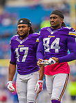 19 October 2014: Minnesota Vikings wide receiver Jarius Wright (17) and wide receiver Cordarrelle Patterson (84) walk on the field prior to facing the Buffalo Bills at Ralph Wilson Stadium in Orchard Park, NY. The Bills defeated the Vikings 17-16 in a dramatic, last minute, comeback touchdown drive. Mandatory Credit: Ed Wolfstein Photo *** RAW (NEF) Image File Available ***