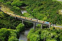 The historic Taieri Gorge Railway train crossing bridge at Hindon, Otago