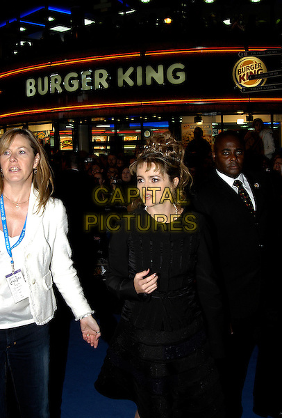 "HELENA BONHAM CARTER.UK premiere of ""Corpse Bride"" at Vue Cinema, London, UK..October 17th, 2005.Ref: IA.half length hair accessory crown  black skirt Burger King.www.capitalpictures.com.sales@capitalpictures.com.©Capital Pictures"