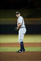 Mesa Solar Sox relief pitcher John Schreiber (36), of the Detroit Tigers organization, gets ready to deliver a pitch during an Arizona Fall League game against the Scottsdale Scorpions on October 9, 2018 at Scottsdale Stadium in Scottsdale, Arizona. The Solar Sox defeated the Scorpions 4-3. (Zachary Lucy/Four Seam Images)