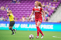 Orlando, FL - Saturday April 22, 2017: Victoria Huster during a regular season National Women's Soccer League (NWSL) match between the Orlando Pride and the Washington Spirit at Orlando City Stadium.