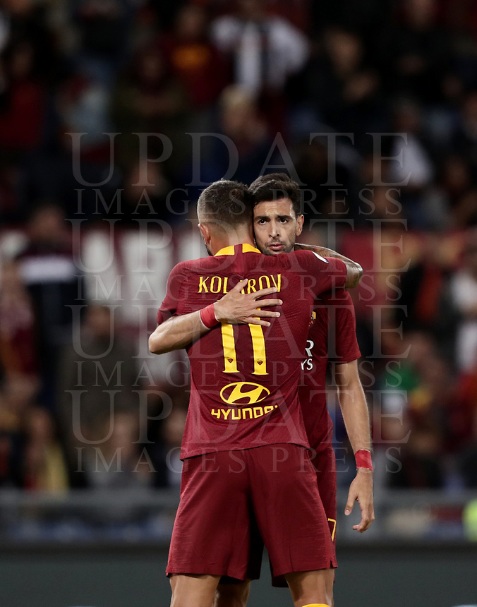 Football, Serie A: AS Roma - Frosinone, Olympic stadium, Rome, 26 September 2018. <br /> Roma's Javier Pastore celebrates after scoring with his teammate Aleksandar Kolarov (back) during the Italian Serie A football match between AS Roma and Frosinone at Olympic stadium in Rome, on September 26, 2018.<br /> UPDATE IMAGES PRESS/Isabella Bonotto