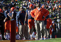 Virginia Cavaliers head coach Mike London  shows his frustration during the game against Maryland in Charlottesville, Va. Maryland defeated Virginia 27-20.