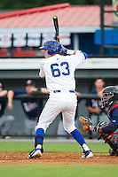 Ryan Dale (63) of the Burlington Royals at bat against the Elizabethton Twins at Burlington Athletic Park on June 25, 2014 in Burlington, North Carolina.  The Twins defeated the Royals 8-0. (Brian Westerholt/Four Seam Images)