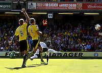 Bafetimbi Gomis of Swansea shoots at the goal     during the Barclays Premier League match Watford and Swansea   played at Vicarage Road Stadium , Watford