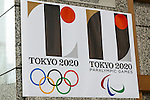 Tokyo 2020 Olympics and Tokyo 2020 Paralympic Games logos on display inside the Tokyo Metropolitan building on September 1, 2015, Tokyo, Japan. The Tokyo Olympic organizers have decided to drop the logo for the 2020 Games after an emergency meeting on Tuesday September 1st. Designer Kenjiro Sano's logo had been critized after Belgian, Olivier Debie, instigated legal action due to similarities to his logo for the Theater de Liege in Belgium. Beleaguered Sano has also recently faced other questions of plagiarism over his past designs. (Photo by Rodrigo Reyes Marin/AFLO)