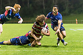 Orbyn Leger dives over to score for the Steelers. Mitre 10 Cup game between Counties Manukau Steelers and Tasman Mako's, played at ECOLight Stadium Pukekohe on Saturday October 14th 2017. Counties Manukau won the game 52 - 30 after trailing 22 - 19 at halftime. <br /> Photo by Richard Spranger.