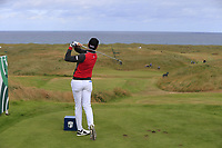 Brett Rumford (AUS) tees off the par3 14th tee during Thursday's Round 1 of the 2018 Dubai Duty Free Irish Open, held at Ballyliffin Golf Club, Ireland. 5th July 2018.<br /> Picture: Eoin Clarke | Golffile<br /> <br /> <br /> All photos usage must carry mandatory copyright credit (&copy; Golffile | Eoin Clarke)