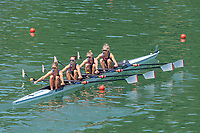 """Lucerne, SWITZERLAND, 12th July 2018, Friday,  """"GBR LW4X"""", Bow, Elisha LEWIS, Gemma HALL, Francesca RAWLINS and Madeleine ARLETT. crossing the course to take up ther start position,  FISA World Cup series, No.3, Lake Rotsee, Lucerne, © Peter SPURRIER,"""