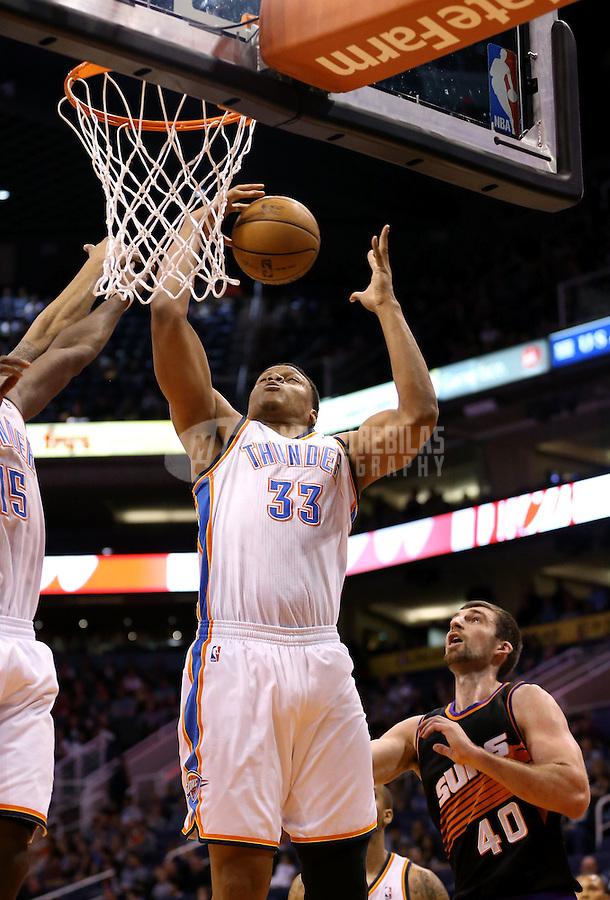 Feb. 10, 2013; Phoenix, AZ, USA: Oklahoma City Thunder center Daniel Orton against the Phoenix Suns at the US Airways Center. Mandatory Credit: Mark J. Rebilas-