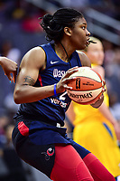Washington, DC - June 15, 2018: Washington Mystics forward Myisha Hines-Allen (2) handles the ball in traffic during game between the Washington Mystics and Chicago Sky at the Capital One Arena in Washington, DC. (Photo by Phil Peters/Media Images International)