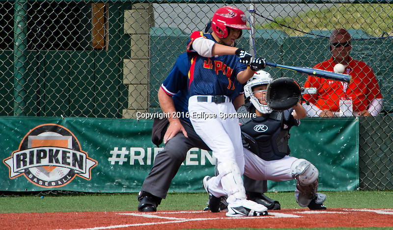 ABERDEEN, MD - AUGUST 02: Kairi Matsumura #17 of Japan takes a cut and misses during a game between Japan and New Zealand during the Cal Ripken World Series at The Ripken Experience Powered by Under Armour on August 2, 2016 in Aberdeen, Maryland. (Photo by Ripken Baseball/Eclipse Sportswire/Getty Images)
