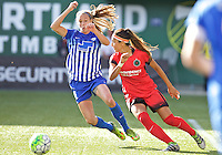 Portland, Oregon - Sunday September 4, 2016: Boston Breakers midfielder Louise Schillgard (10) and Portland Thorns FC forward Nadia Nadim (9) during a regular season National Women's Soccer League (NWSL) match at Providence Park.