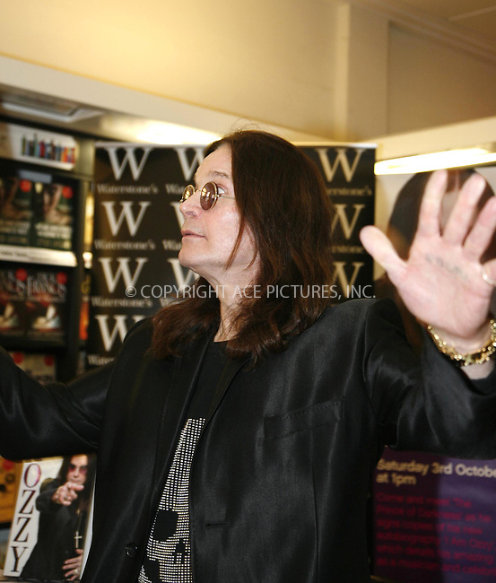 WWW.ACEPIXS.COM . . . . .  ..... . . . . US SALES ONLY . . . . .....October 3 2009, London....Ozzy Osbourne at the 'I Am Ozzy' book signing in London - 03 October 2009....Please byline: FAMOUS-ACE PICTURES... . . . .  ....Ace Pictures, Inc:  ..tel: (212) 243 8787 or (646) 769 0430..e-mail: info@acepixs.com..web: http://www.acepixs.com